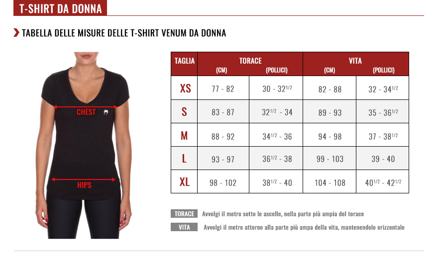venum women tshirts size chart